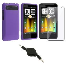 Purple Case/ Screen Protector/ Audio Cable for HTC Holiday