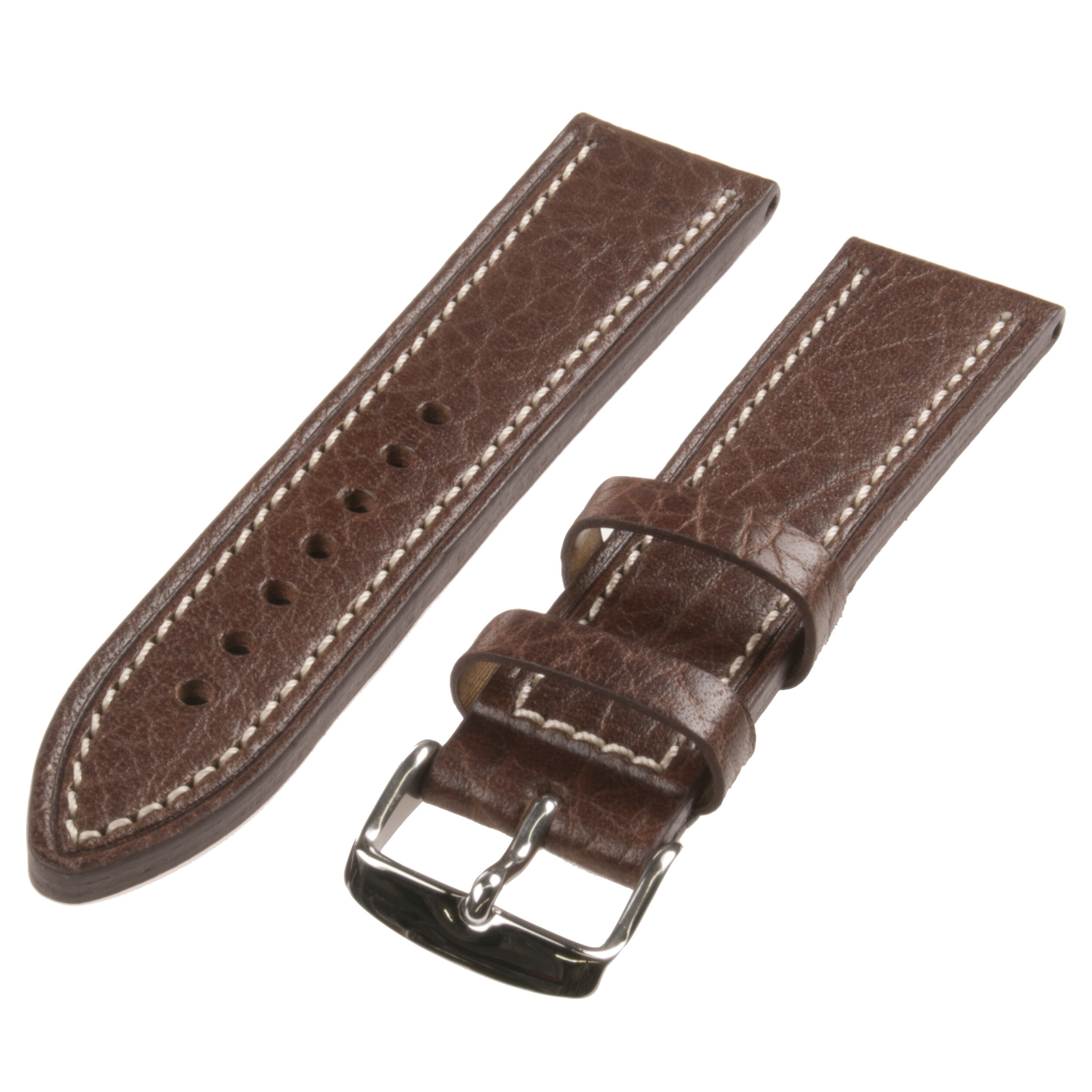 Republic Men's Brown Contrast Stitch Shrunken Grain Leather Watch Strap