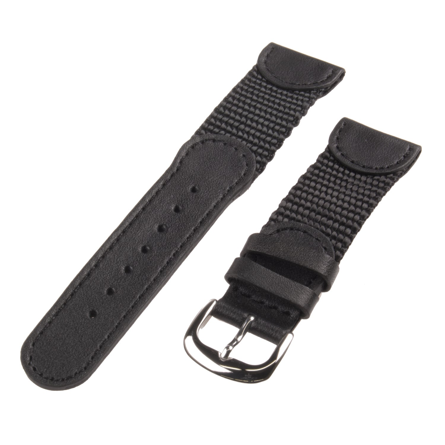 Republic Men's Black Genuine Leather and Black Nylon Watch Strap