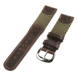 Republic Men's Brown Genuine Leather and Olive Green Nylon Watch Strap