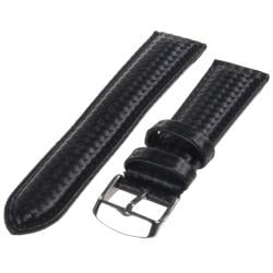 Republic Men's Black Carbon Fiber Style Leather Watch Strap