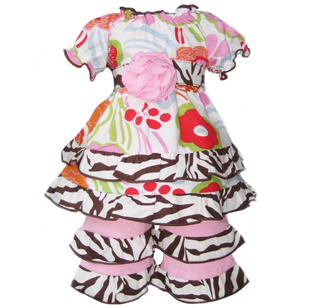 AnnLoren 2-piece Floral/ Zebra American Girl Doll Outfit