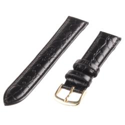 Republic Men's Black Crocodile Embossed Grain Leather Watch Strap