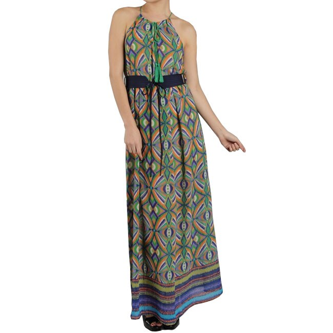 Tabeez Women's Tassle Belted Maxi Dress
