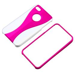 Hot Pink/ White Cup Shape Snap-on Case for Apple iPhone 4/ 4S