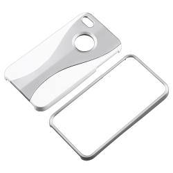 Silver/ White Cup Shape Snap-on Case for Apple iPhone 4/ 4S