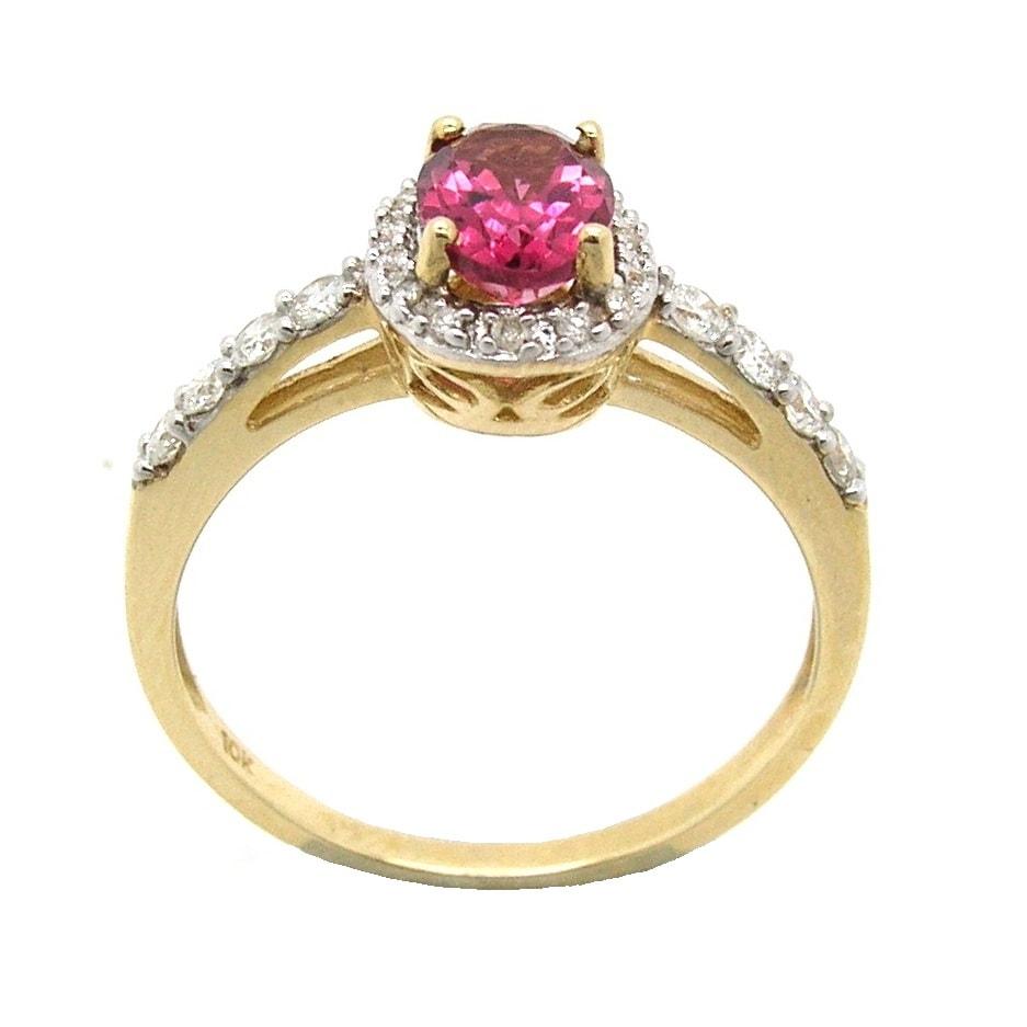 D'sire 10k Gold Pink Tourmaline and 1/3ct TDW Diamond Ring (H-I, I1-I2)
