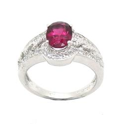 D'sire 10k White Gold Pink Rubelite and White Sapphire Ring