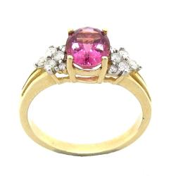 D'sire 10k Gold Pink Tourmaline and 2/9ct TDW Diamond Ring (H-I, I1-I2)