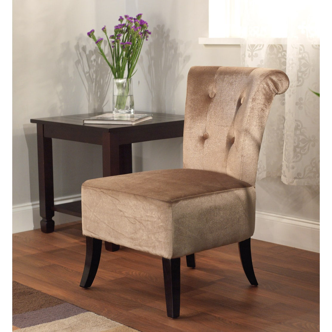 Simple Living Anna Brown Velvet Accent Chair