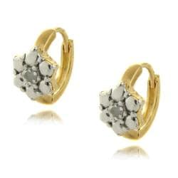 Gold over Silver Diamond Accent Flower Earrings