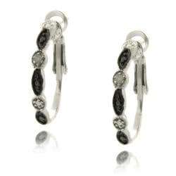 Sterlings Silver Black and White Diamond Accent Marquise Earrings