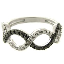 Sterling Silver Diamond Accent Black and White Infinity Ring