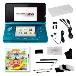 Nintendo 3DS Aqua Blue Bundle with Super Monkey Ball and 20 Accessories