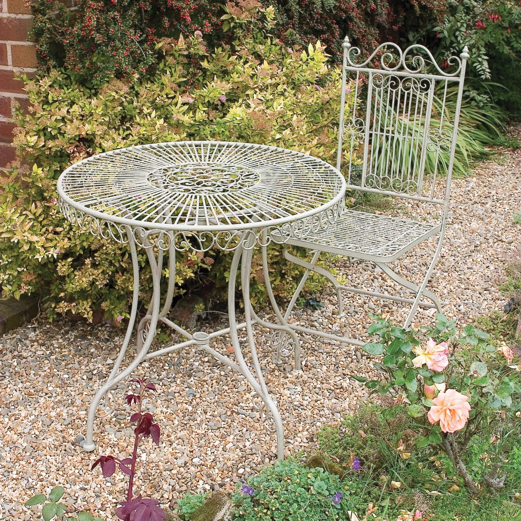 Laura Ashley Oyster Decorative Metal Chair Garden Accent