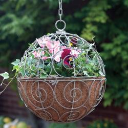Laura Ashley Oyster Globe Basket Garden Accent