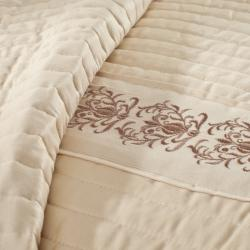 Solid Sateen Embroidered 3-piece Queen-size Coverlet Set