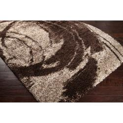 Woven Brown Kodiak Geometric Shag Rug (5'3 x 7'6)