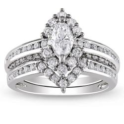Miadora 14k White Gold 1 1/2ct TDW Diamond Ring Set (G-H, I1-I2)