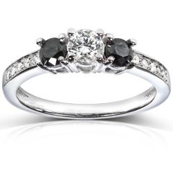 14k White Gold 3/5 ct TDW Black and White Diamond Engagement Ring (H-I, I1-I2)