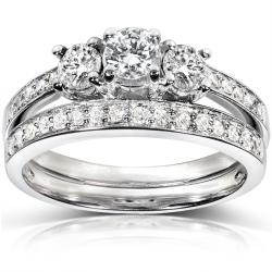 14k White Gold 3/4ct TDW Diamond Bridal Ring Set