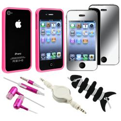 Pink Bumper Case/ LCD Protector/ Headset/ Cable for Apple iPhone 4S