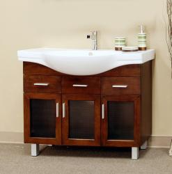 Medium Walnut 39.8-inch Single Bathroom Vanity With Sink