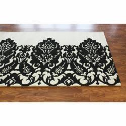 nuLOOM Handmade Italia Damask Ivory Wool Rug (7'6 x 9'6)