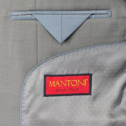 Mantoni Solid Taupe 3-Button Classic Fit Wool Suit