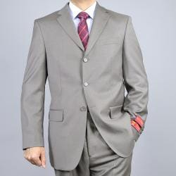 Solid Taupe 3-Button Classic Fit Wool Suit