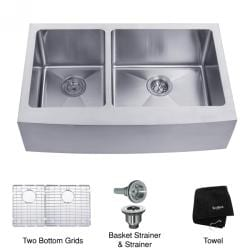 Kraus 33 -inch Farmhouse Apron 60/40 Double Bowl Steel Kitchen Sink