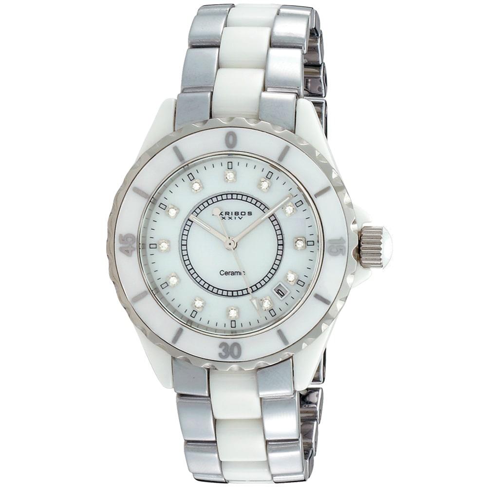 Akribos XXIV Midsize Women's Two-tone Ceramic Bracelet Watch