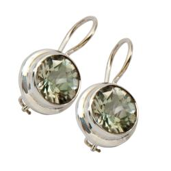 Green Amethyst Sterling Silver Earrings (India)