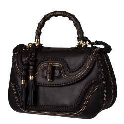 Gucci New Black Leather and Bamboo Large Top Handle Bag