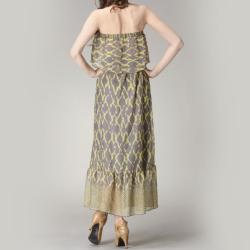 Tabeez Women's Abstract-print Ruffled Maxi Dress