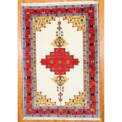 Indo Hand-knotted Kazak Ivory/ Red Wool Rug (6'7 x 9'8)