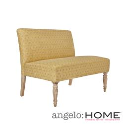angelo:HOME Bradstreet Art Deco Tile Gold Upholstered Armless Settee