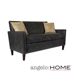 angelo:HOME Sutton Charcoal Gray Renu Leather Sofa