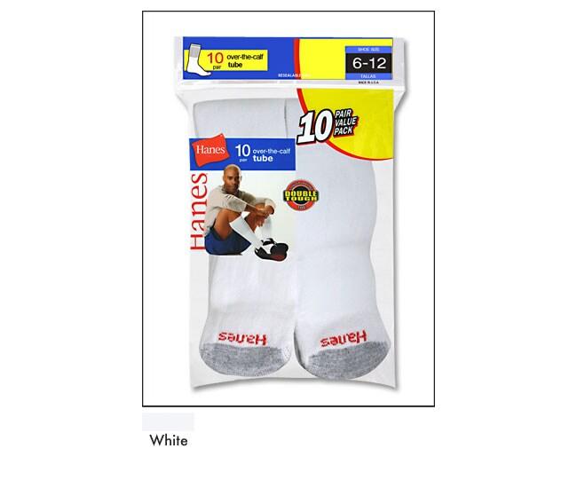 Hanes Men's White Over-the-Calf Crew Socks (Pack of 10)