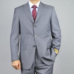 Bertolini Men's Grey Sharkskin Wool/Silk Blend 3-button Suit