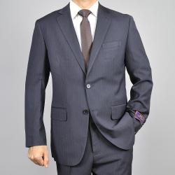 Carlo Lusso Men's Pinstripe Black 2-Button Suit