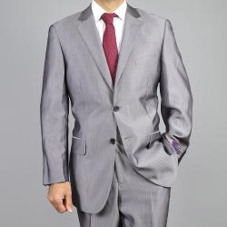 Carlo Lusso Men's Silver Grey 2-Button Suit