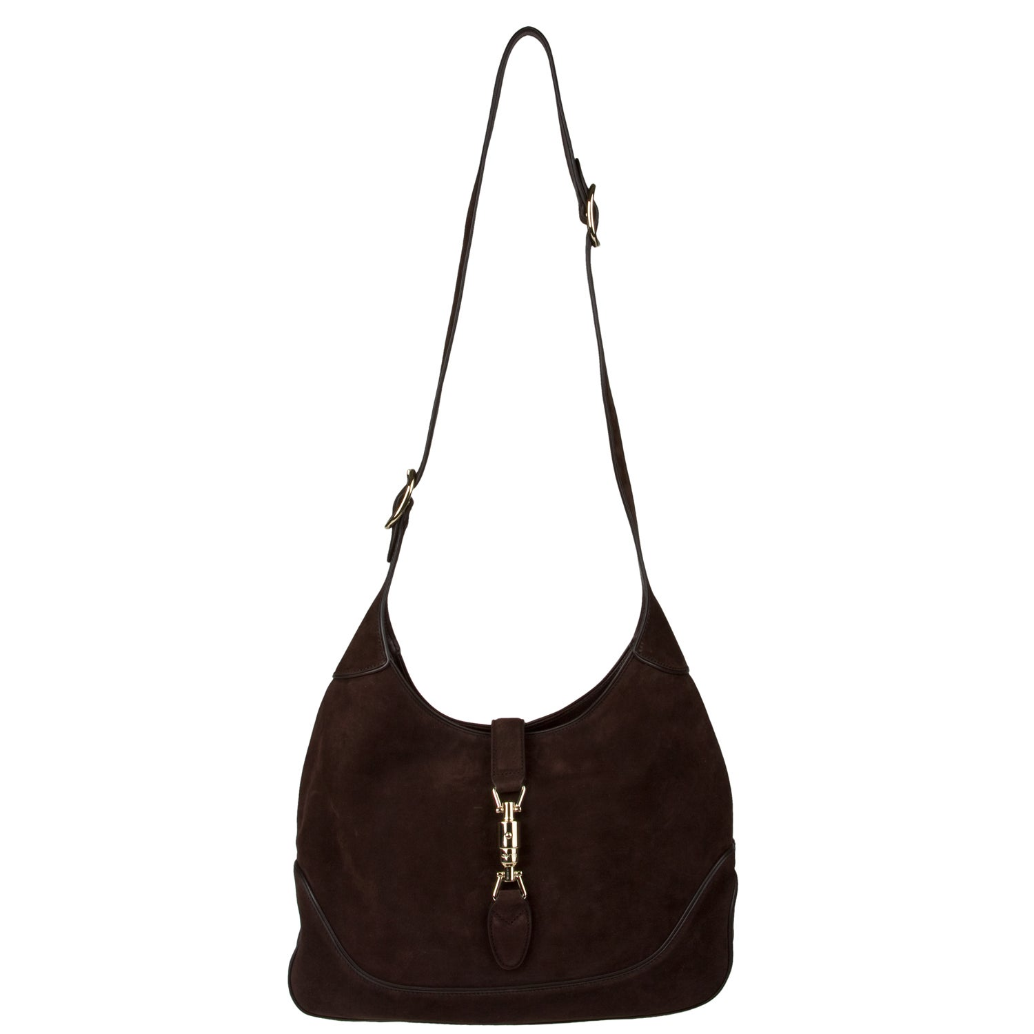 Gucci Chocolate Suede Hobo Handbag