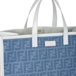 Fendi Blue Perforated Tote Bag