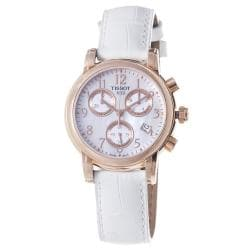Tissot Women's T050.217.36.112.00 White Leather Swiss Quartz Watch with Mother-Of-Pearl Dial