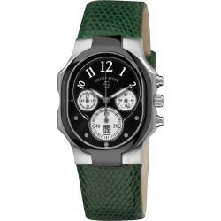 Philip Stein Women's 'Classic Chrono' Black Dial Green Strap Watch