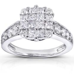 14k White Gold 1 1/10ct TDW Diamond Cluster Engagement Ring (H-I, I1-I2)