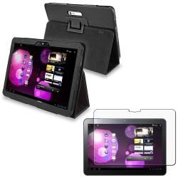 Leather Case/ Anti-glare Screen Protector for Samsung Galaxy Tab 10.1v