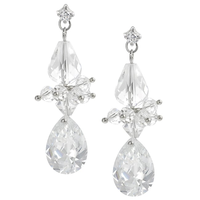 Journee Silvertone Cubic Zirconia and Crystal Dangle Earrings