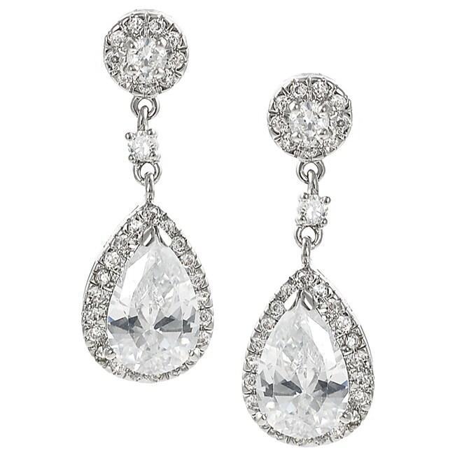Tressa Silvertone Cubic Zirconia Teardrop Dangle Earrings